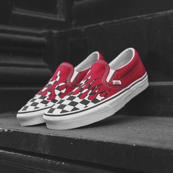 Vans Classic Slip On Checker Flame Racing Red NWT